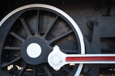 Detail of the wheels on a steam train photo
