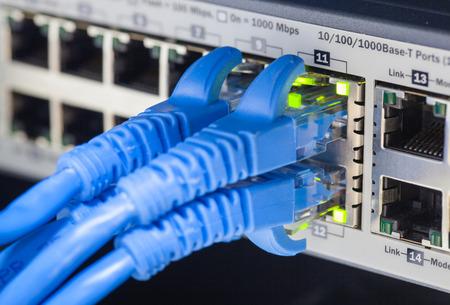 RJ45 LAN-kabel is aangesloten om te schakelen. Stockfoto