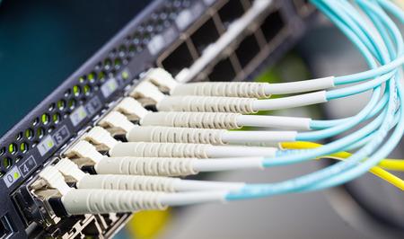 red informatica: Fibra óptica y SFP conectados a cambiar.