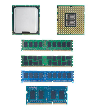 CPU and RAM isolated  set on white background with out shadow. photo