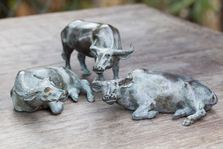 buffalo steel doll on wooden table. photo