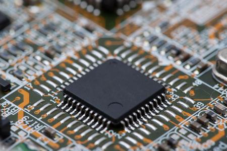 Black IC on Circuit Board.