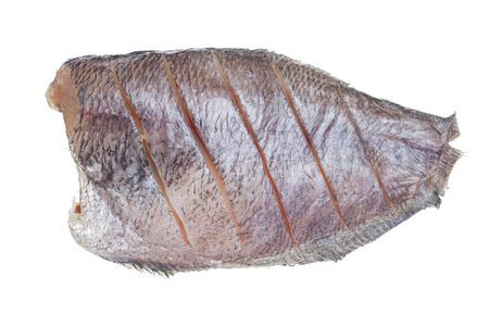 conservacion alimentos: Sun pescado seco aislado en el fondo blanco, sin sombra, alimento de preservaci�n estilo thai