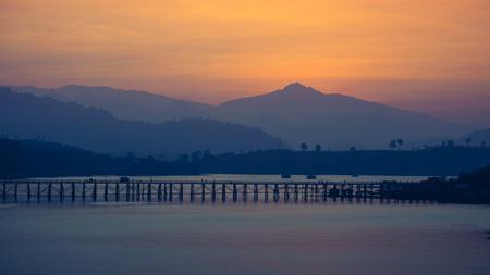 sangkhla buri: Wooden Mon Bridge during sunrise, Sangkhla Buri,Kanchanaburi.
