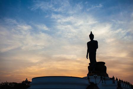 Silhouette of Buddha statue at Phutthamonthon, Nakhon Pathom, Thailand.