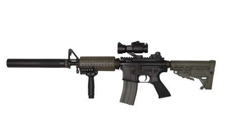 M4A1 custom rifle for paramilitary contractors. Isolated on white background. Studio shot.