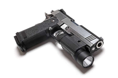 Custom Build 1911 Double Stack USPSA Pistol With Flashlight Banco de Imagens