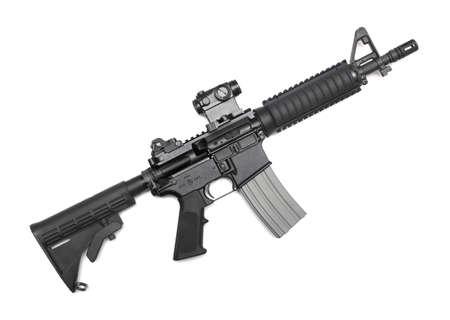 M4A1 CQBR, MK18 Mod 0 tactische karabijn met micro red dot sight Geïsoleerd op wit Stockfoto