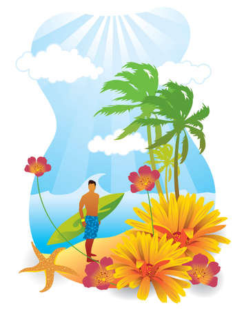 Vector illustration of a summer scene with a young man carrying a surfboard.