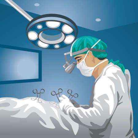 chirurgo: Chirurgo in sala operatoria. Vettoriali