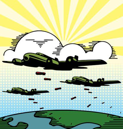 avion caricatura: Ilustraci�n vectorial de aviones militares bombardero lanzando bombas. Vectores
