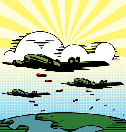 airplane landing: Vector illustration of military bomber planes dropping bombs.