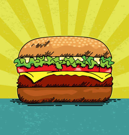 cheeseburgers: Vector illustration of a juicy hamburger.