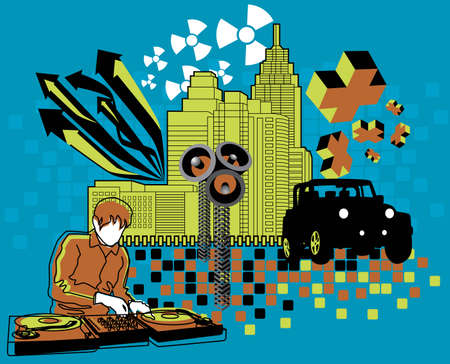 Vector illustration of DJ and urban elements.