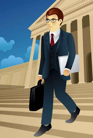 Vector afbeelding van een zaken man het dragen van een kleur. Vector Illustratie