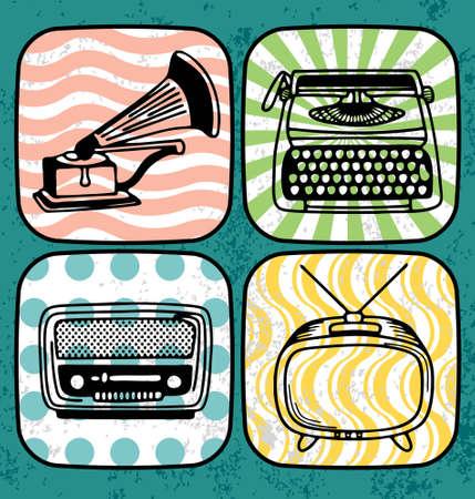 m�quina de escribir vieja: Ilustraci�n vectorial de un antiguo tocadiscos, m�quina de escribir, la radio y la televisi�n. Vectores