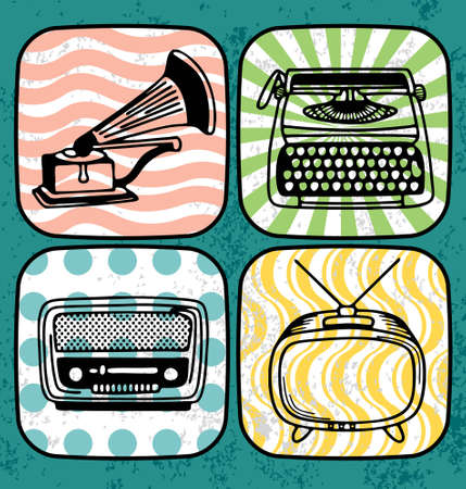 Vector illustration of a vintage record player, type writer, radio and television.  Illustration