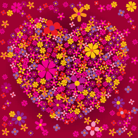 Valentine: Heart shaped flower burst - vector 8 Vector