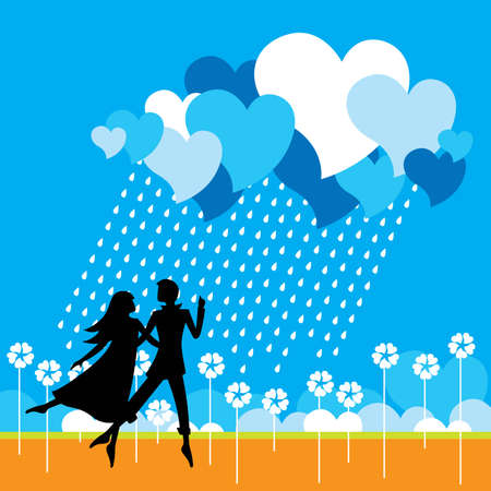flying man: Dancing couple - Vector eps8 Illustration