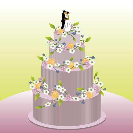 wedding reception decoration: Wedding cake - visit our portfolio for more love illustrations.
