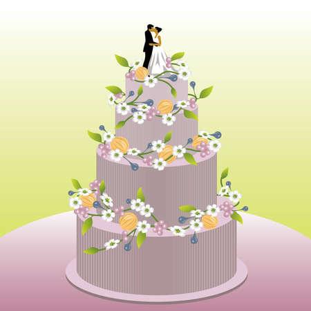 Wedding cake - visit our portfolio for more 'love' illustrations. Stock Vector - 4180879