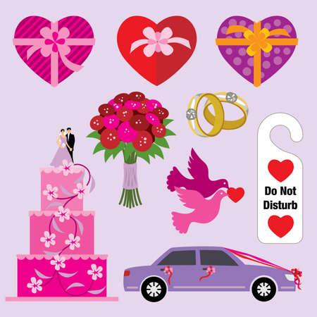 Wedding design elements - visit our portfolio for more love illustrations. Illustration