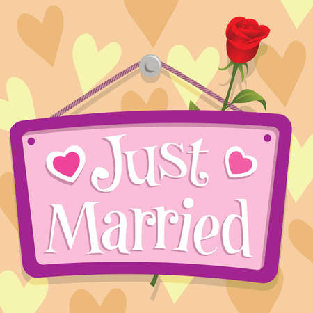 matrimony: Just married - Vector eps8 Illustration