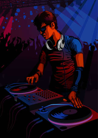 Profession set: DJ spinning in a club  Vector