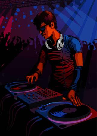 urban people: Profession set: DJ spinning in a club  Illustration