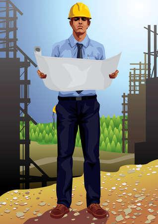 construction management: Set di professione: architetto indossa il casco protettivo in un cantiere - Vector8 Vettoriali