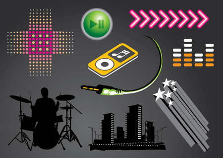 Music, nightlife elements. Saved in EPS8 format. You can use any vector compatible software to openmodifyuse the file. The different graphics are on separate layers so they can be easily edited individually. Scalable to any size without loss of quality. Vector