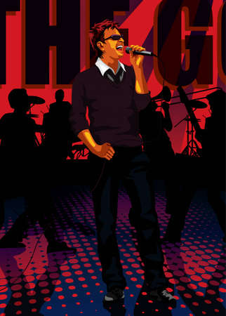 Profession set: band singer - Saved in EPS8 format. You can use any vector compatible software to open/modify/use the file. Scalable to any size without loss of quality. Visit our gallery for more professions. Stock Vector - 4196917