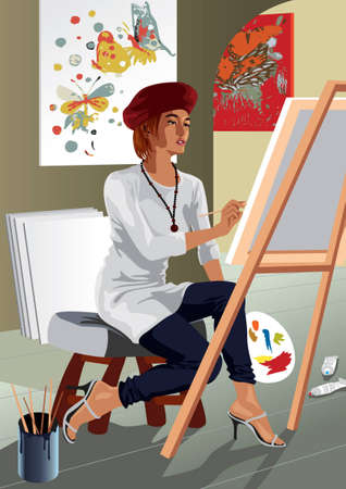 Profession set: artist painter - Saved in EPS8 format. You can use any vector compatible software to open/modify/use the file. Scalable to any size without loss of quality. Visit our gallery for more professions. Stock Vector - 4196918
