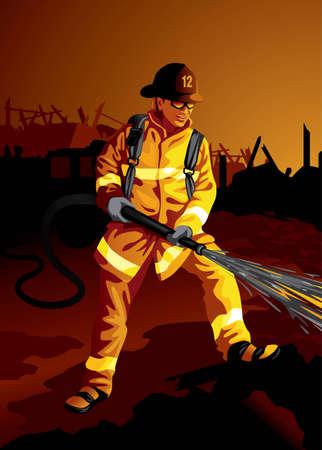servicios publicos: Profesi�n conjunto: valiente bombero en el trabajo - Visita mi galer�a para m�s profesiones.