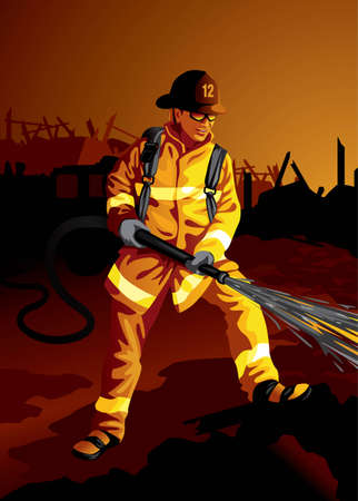 Profession set: brave fire fighter at work - visit my gallery for more professions. Stock Vector - 4236070
