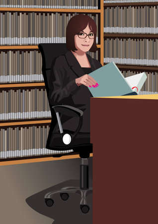 woman reading: Profession set: librarian