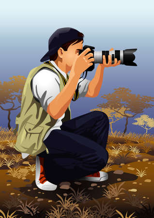 paparazzi: Profession set: photographer Illustration