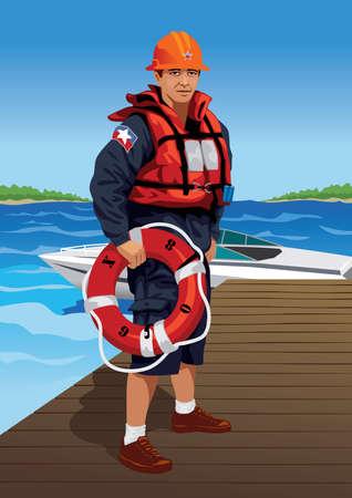 coast guard: Profesi�n conjunto: socorrista - Visita mi galer�a para m�s profesiones. Vectores