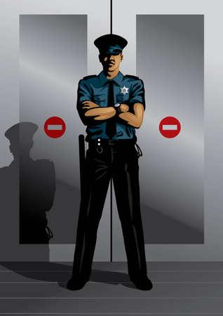 Profesión conjunto: guardia de seguridad - Visita mi galería para más profesiones. Ilustración de vector
