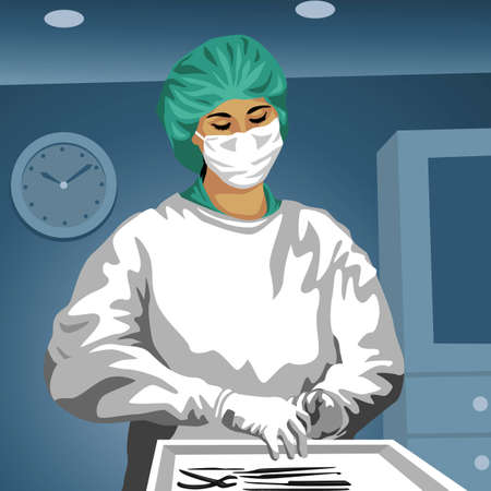 Profession set: female surgeon Stock Vector - 4236073