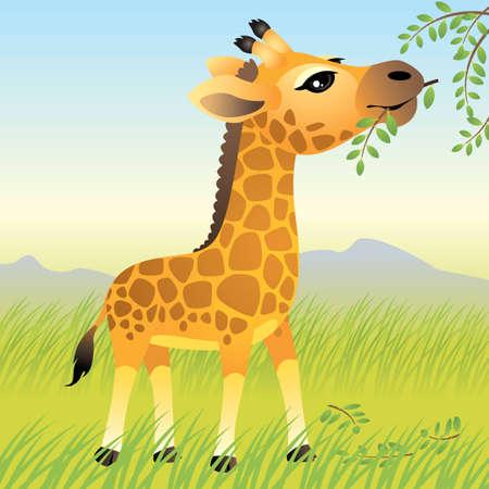 아기 동물 컬렉션 : 기린 일러스트