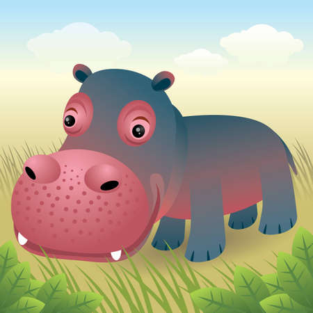 Baby Animal collection: Hippo Vector