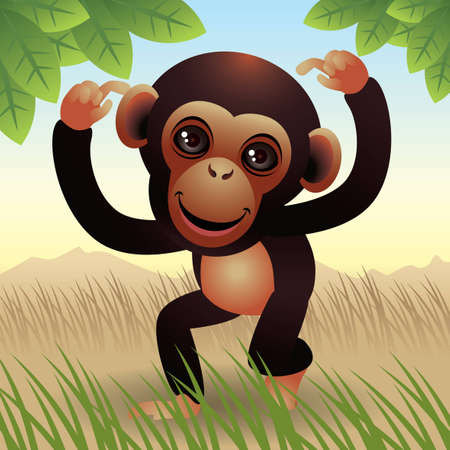 Baby Animal collection: Monkey Stock Vector - 4264048