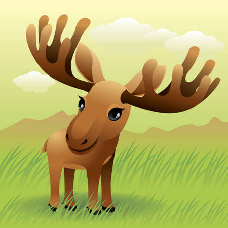 Baby Animal collection: Moose Illustration