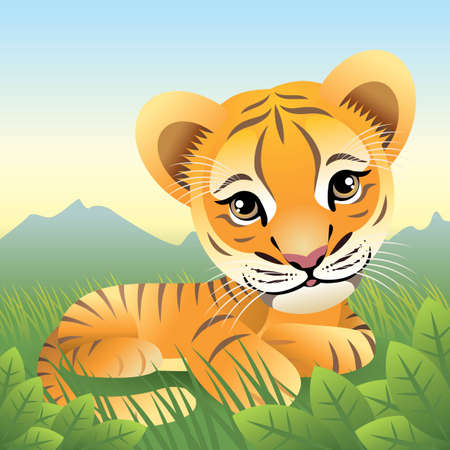 Baby Animal collection: Tiger Vector