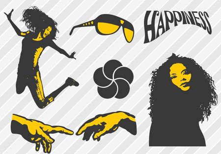 Happiness elements Vector