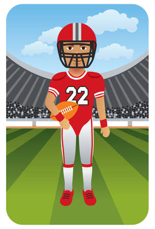 Sport series: American football player on the field Vector
