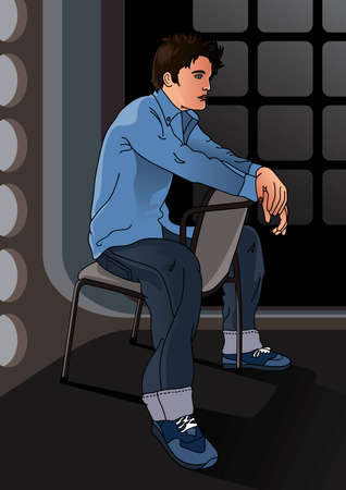 handsome boy: Handsome boy sitting on a chair - Vector EPS8. You can use any vector compatible software to openmodifyuse the file. The different graphics are on separate layers so they can be easily edited individually. Scalable to any size without loss of quality. Illustration