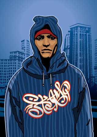 gangsta: Portrait of a city boy - Vector EPS8. You can use any vector compatible software to openmodifyuse the file. The different graphics are on separate layers so they can be easily edited individually. Scalable to any size without loss of quality.