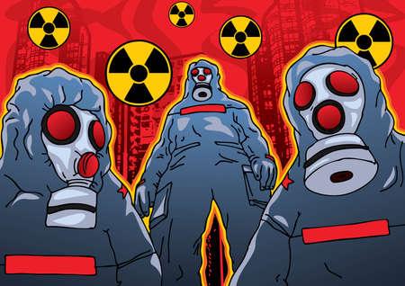 radioattivo: Chimica attacco terroristico - Vector EPS8. � possibile utilizzare qualsiasi vettore di software compatibile per aprire  modificare  utilizzare il file. I vari grafici sono in strati separati in modo che possano essere facilmente modificate individualmente. Scalabile a qualsiasi dimensione senza la perdita di qualit�.